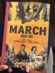 "Cover of Book One in the ""March"" graphic novel trilogy, co-authored by Rep. John Lewis and Andrey Aydin; Illustrated by Nate Powell; Published by Top Shelf Productions"